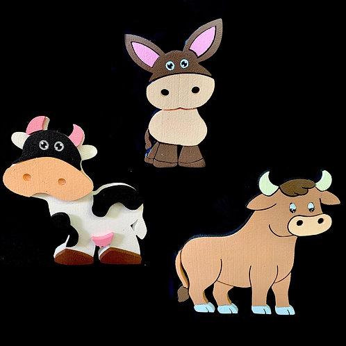 Set De Animales 3 ( Vaca, Buey,Burrito)