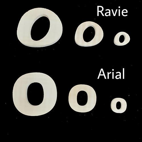 Letra O Tipografia ARIAL o RAVIE