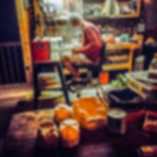 Bob working in his 100 yr old barn