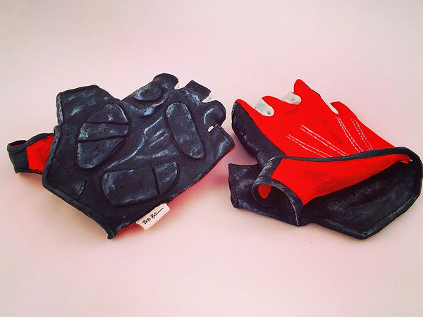 Woodcarved pair of Cycling Gloves