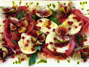 Stunning Parma Ham, Mozzarella & Fig Salad with a Basil, Lemon & Pomegranate Dressing