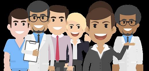 group of medical team in cartoon