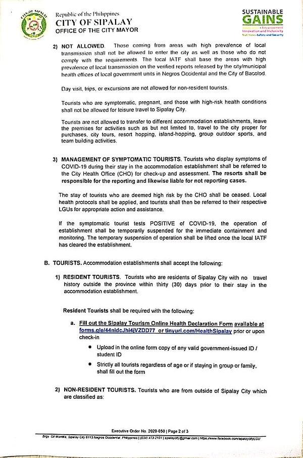 City Of Sipalay Executive Order 2020-50