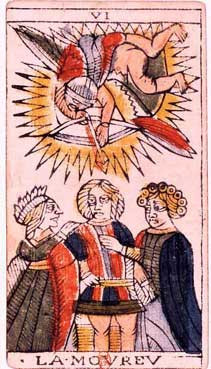 "The ""VI The Lover"" card from the Marseilles tarot deck."