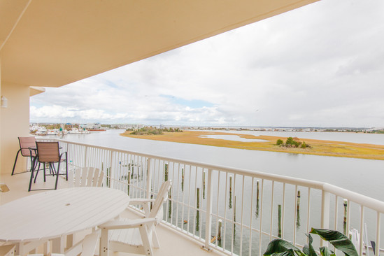Balcony of Beaufort condo overlooking the sound