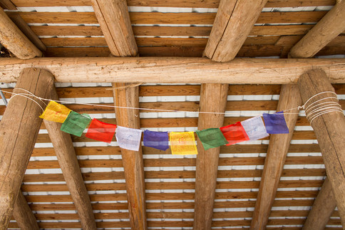 Tibetan Prayer Flags in a Shelter