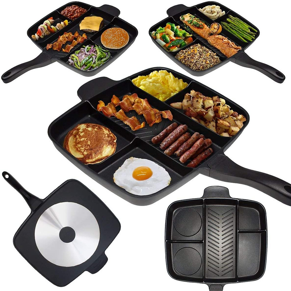 big frying pan with dividers and sections, allowing a fry up breakfast to be cooked easily