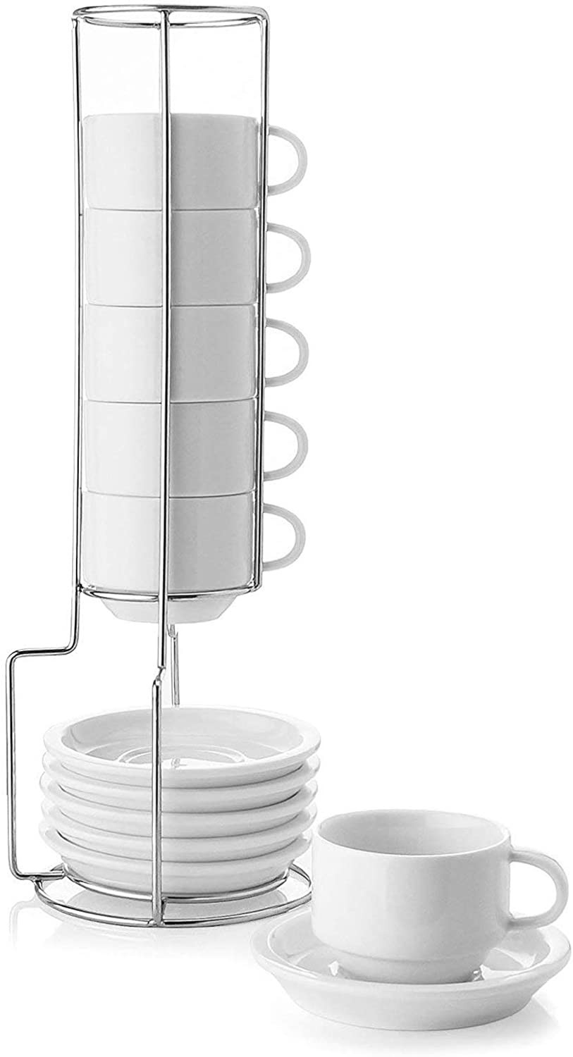 Sweeze porcelain stackable espresso cups with saucers