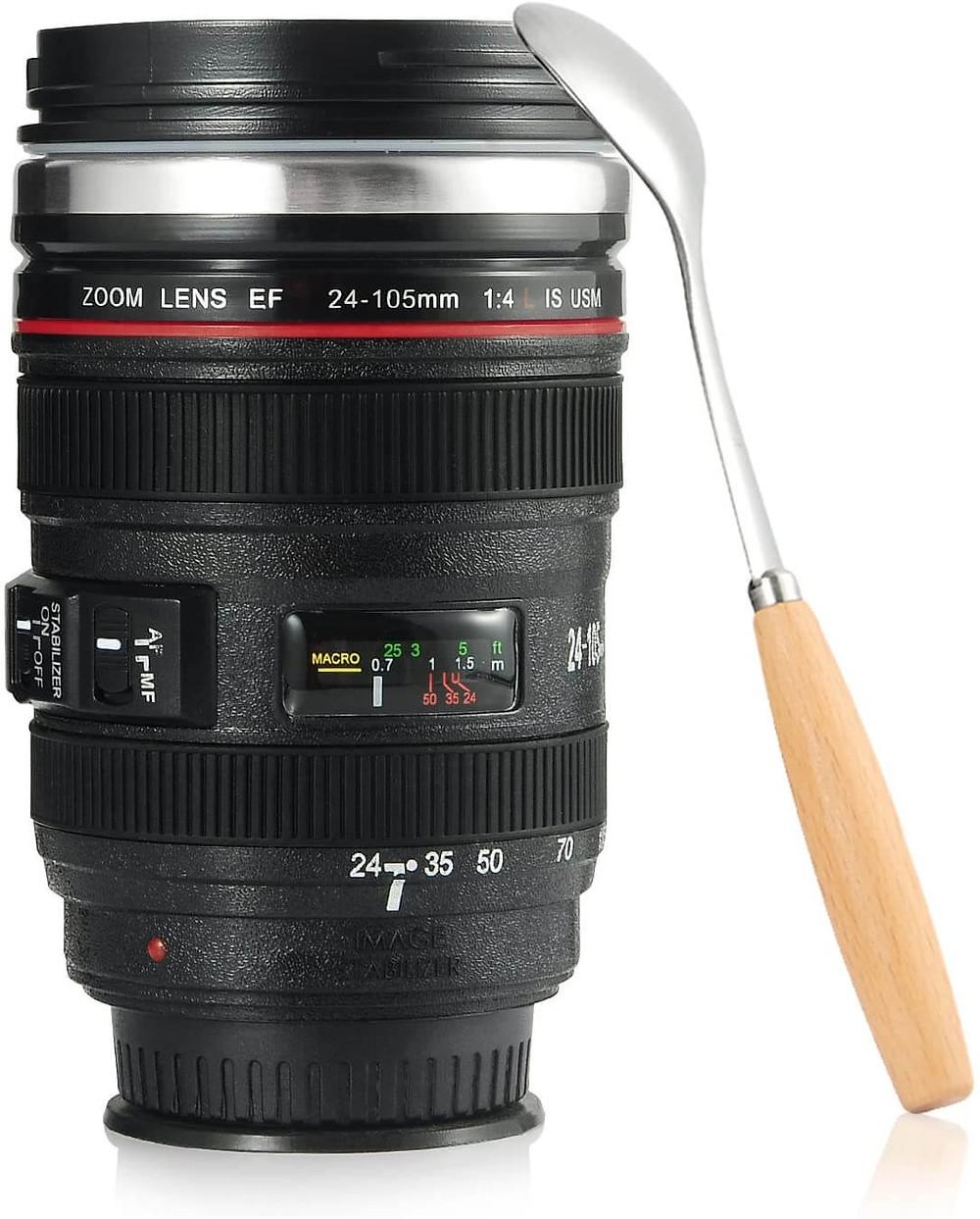 splend camera lens coffee mug photographer