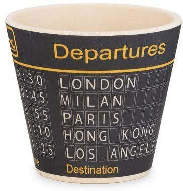 QUY Bamboo espresso cups with airport theme