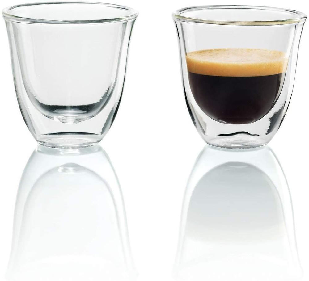 Delonghi espresso glass cups with no handles