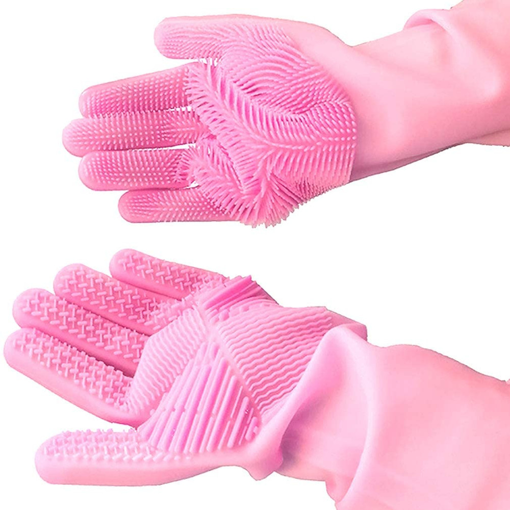Dishwashing silicone gloves with scrubber