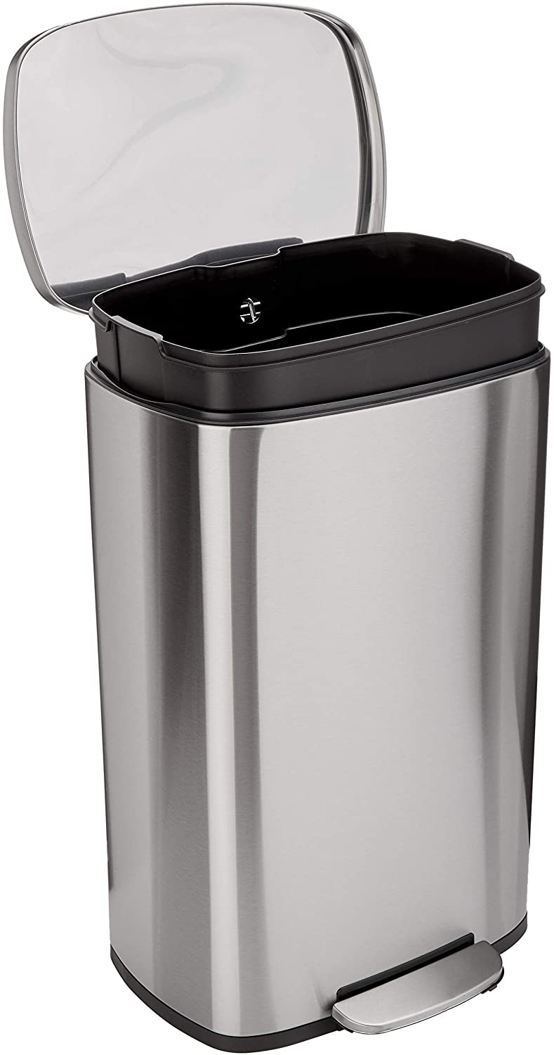 Amazon Basics rectangle stainless steel bin for the kitchen 50L capacity