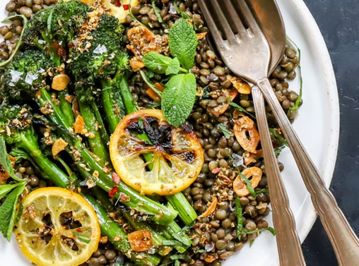 Spiced lentils with broccolini and lemon