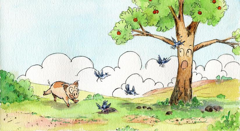 Piggy and Apple Tree
