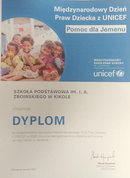 Zdjęcie - dyplom dla Szkoły Podstawowej w Kikole za zorganizowanie obchodów za zorganizowanie Międzynarodowego Dnia Praw Dziecka
