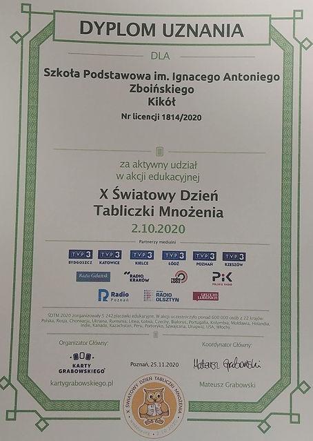 Zdjęcie - dyplom uznania dla Szkoły Podstawowej w Kikole za udział w akcji edukacyjnej dziesiąty Światowy Dzień Tabliczki Mnożenia