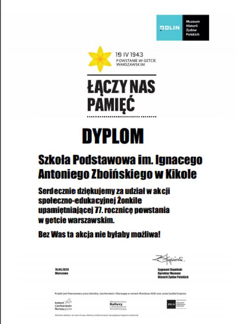 Zdjęcie dyplomu dla Szkoły Podstawowej w Kikole za udział w akcji Żonkile upomiętniającej 77 rocznicę powstania w getcie warszawskim