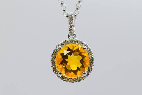 Diamond Citrine Pendant