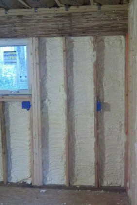 Closed cell spray foam installed in 2x4 walls
