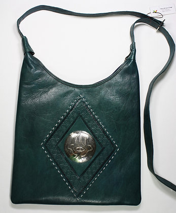 Handmade Leather Moroccan Purse - Blue Green