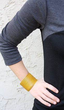 Yellow Leather Cuff- 2 inch wide
