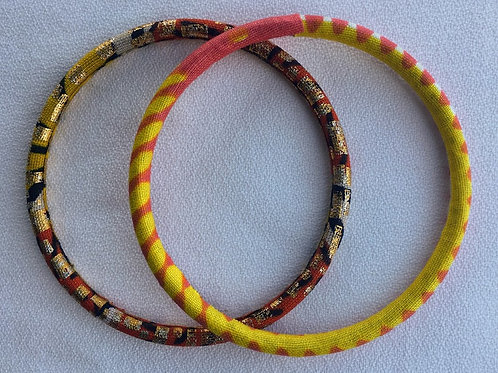 African Fabric Bangles -Set of two