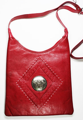 Hand Made Leather Moroccan Purse - Red