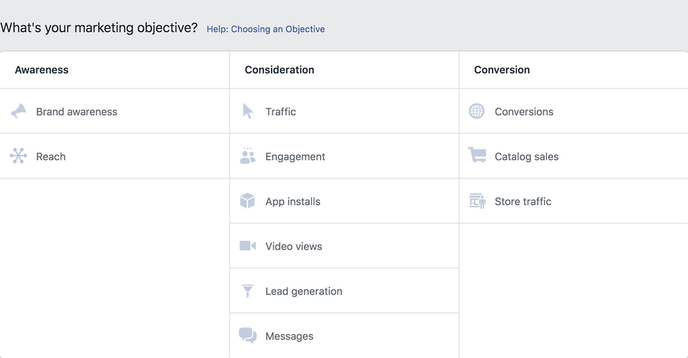 facebook advertising campaign types
