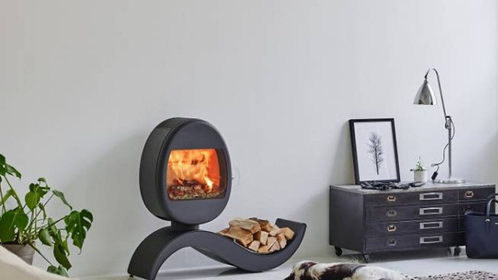 SCAN 66-5 WOOD BURNING STOVE WITH S SHAPED LOG STORE - EX LIVE DISPLAY