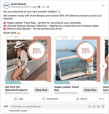 avant beauty facebook ad