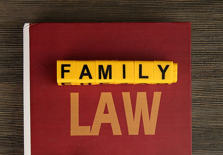 Book of law, cutout family  and blocks with letters regarding child-custody and family-law concept.j