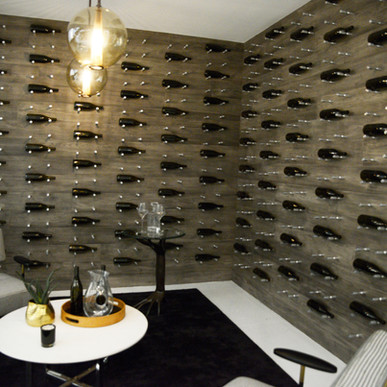 Matte Jaide paneled walls in modern dry storage for private wine collection