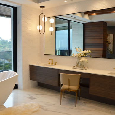 Master bath vanity wall paneling with matching Nogal vanity