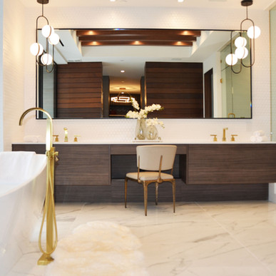 Jaide Nogal master bath vanity with wide sweeping grain