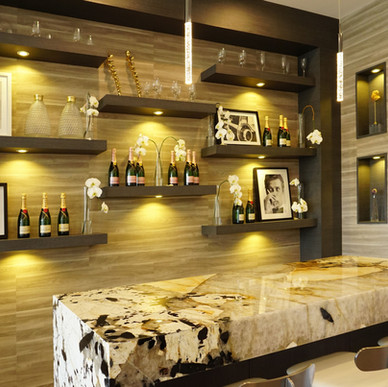 Nogal soffit and shelving with Roble Encanto wall paneling