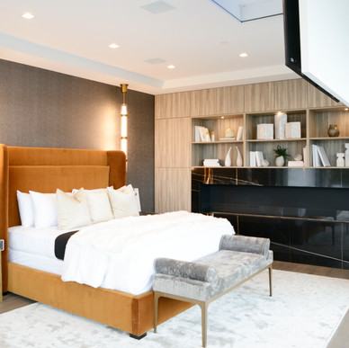 Bedroom built-in with Roble cabinetry