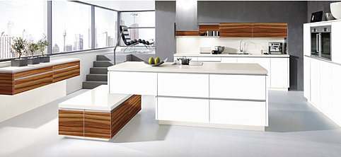 High Gloss Tiger Good Wood Cabinetry With Matte White Kitchen Cabinetry For  Modern Home