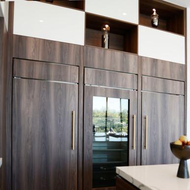 Jaide Matte Nogal appliance panels in 2-tone kitchen