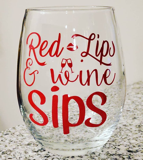 Red Lips Stemless Wine Glass