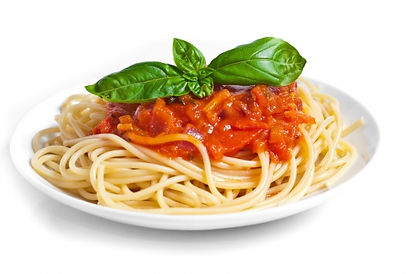 Image of a plate of spaghetti with pasta sauce and a basil garnish