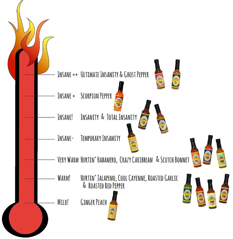 Heat thermometer ratings of each hot sauce