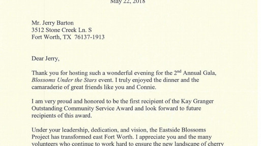 A Huge Thank you from our Congresswoman Kay Granger