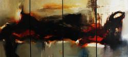 Desde el corazon de la tierra. 2016. Oleo sobre hoja de plata  tela. 290 x 6.00 metro - Copy