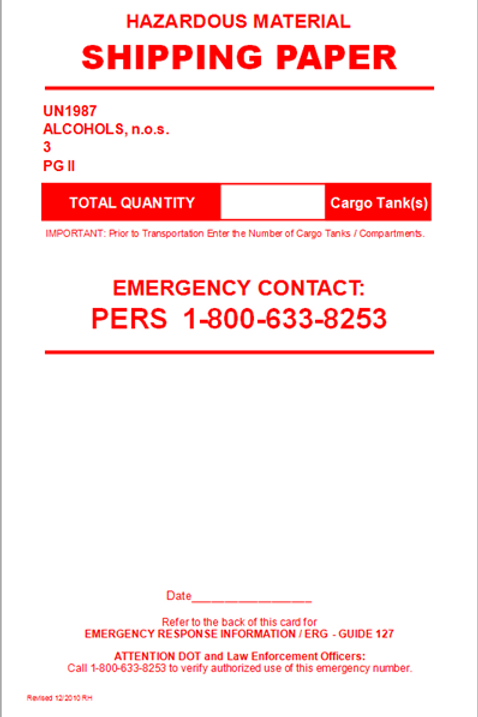 UN1987 Alcohols, n.o.s. (Compartmented Cargo Tank)