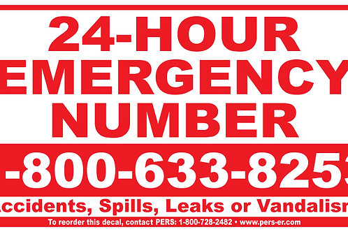 "Vinyl - Emergency Number Decal 5.75"" x 10.75"""
