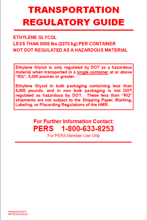 Ethylene Glycol - Not DOT Regulated Info Card