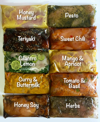 10 Freezable Marinaded Chicken Meals