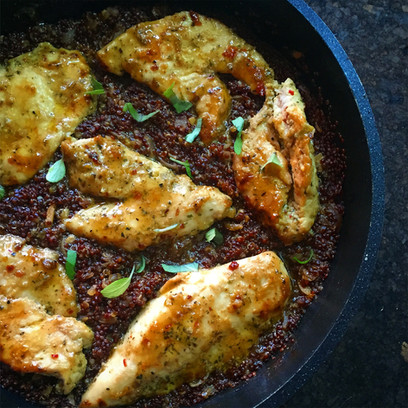 Marinated Chicken on a Bed of Red Quinoa