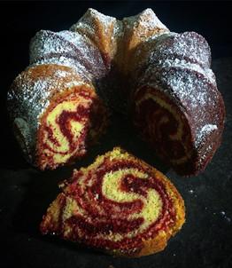 Red Velvet & Vanilla Marble Pound Cake